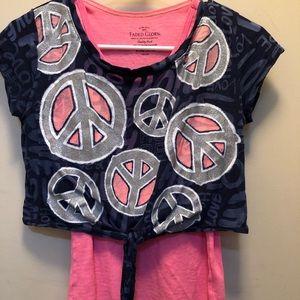 2 shirts n 1 super cute pink tank w/ ☮️ shirt